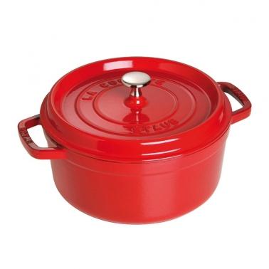 德国直邮 法国Staub Round Cocotte Pot 珐琅铸铁锅 圆底 红色Kirschrot 22cm