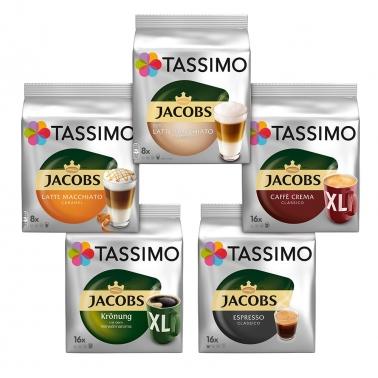 德国直邮 Tassimo咖啡胶囊5款64杯混合装 拿铁美式意式浓缩招牌皇冠焦糖拿铁玛奇朵胶囊咖啡